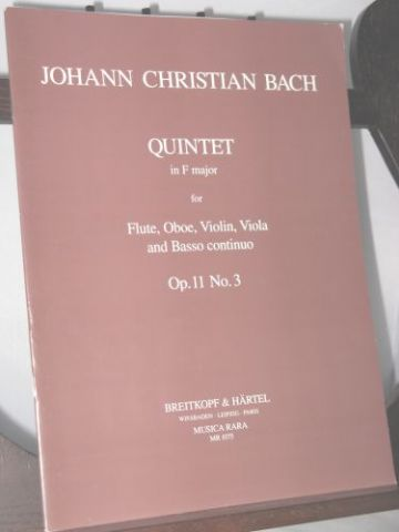 Bach J C - Quintet in F Op 11 No 3
